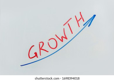 business chart drawing as plan on flip board in office. business growth graph draw on white board