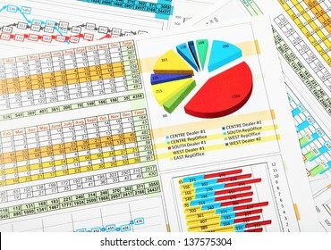 Business Chart and Graphs Showing Sales Statistics