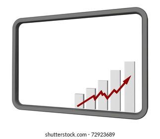 business chart inside metal frame - 3d illustration
