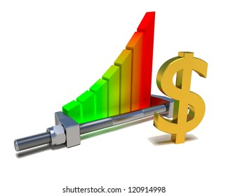 Business chart isolated on the white, dollar sign