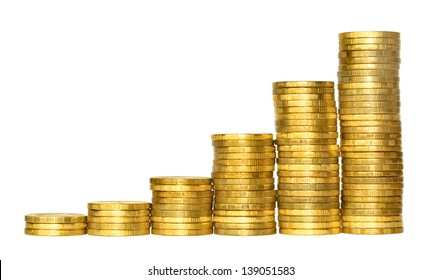 Business chart is made from golden coins, shows an increase, isolated