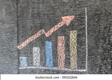 Business chart on blackboard showing increase in sales