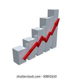 business chart on white background - 3d illustration