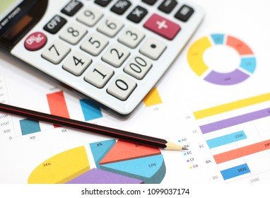 Business charts and graphs, calculator, pencil