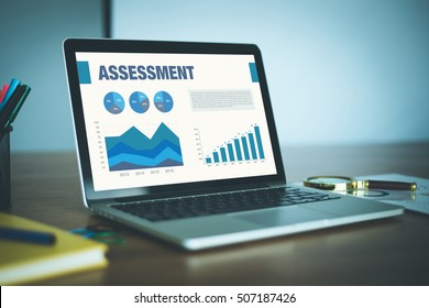 Business Charts and Graphs on screen with ASSESSMENT title