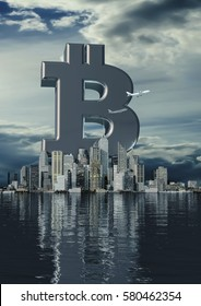 Business city bitcoin / 3D illustration of bitcoin symbol rising from modern city on the waterfront