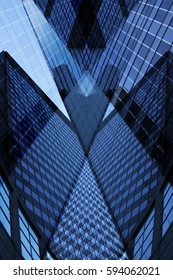 Business cityscape fragment with multistory office buildings / skyscrapers. Reworked abstract photo of modern urban architecture.