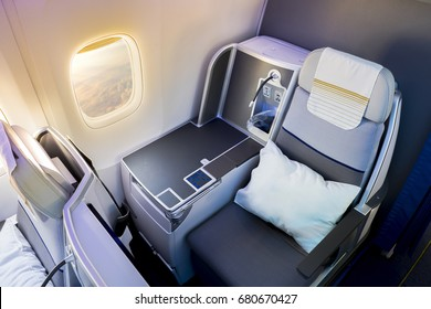 Business class airplane interior