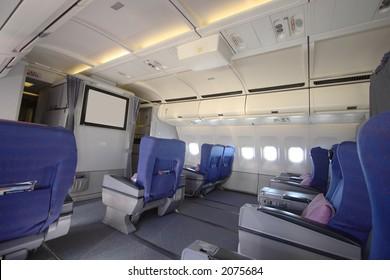 Business class cabin of an A340 aircraft