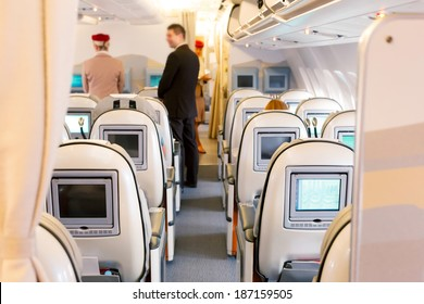 Business class seats with entertainment system onboard