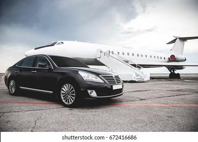 Business class service at the airport. Business class transfer. Airport shuttle - Shutterstock ID 672416686