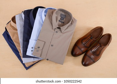 Business classic men's shirts ,shoes ,leather shoes on wooden background