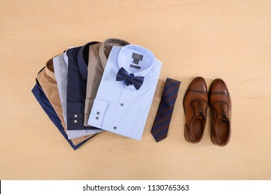 Business classic men's shirts ,shoes ,leather shoes ,on wooden background