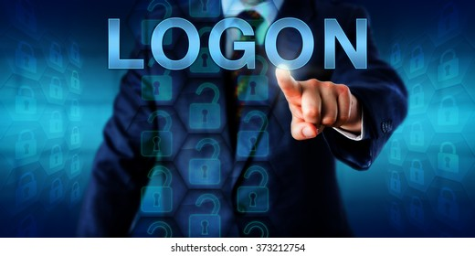 Business client pressing LOGON on a touch screen interface. A set of unlocked virtual locks in a coding matrix represent authorized access upon successful identification. Security technology concept.