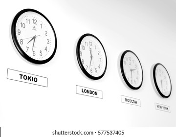 Business clock on wall in room, training room, office, open space