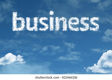 Business cloud word with a blue sky