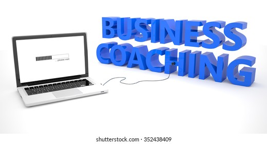 Business Coaching - laptop notebook computer connected to a word on white background. 3d render illustration.