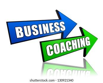 business coaching - text in 3d arrows, management develop concept