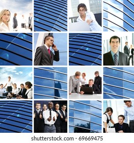 Business collage with abstract elements