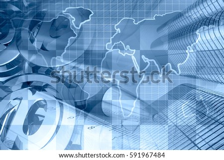business collage blues map ruler mail stock photo edit now
