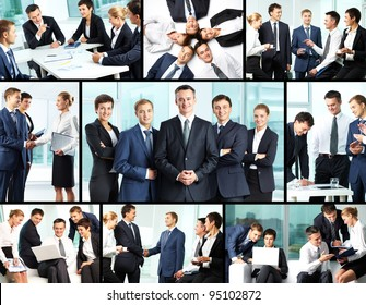 Business collage composed of nine photos of business people