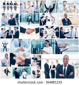 Business collage. Collage of diverse multi-ethnic business people in different business situations