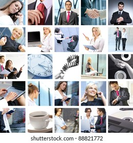Business collage made of some business pictures. It illustrates stock marketing, real estate, technology, relations, time and money.