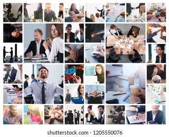 Business collage with scene of business person at work