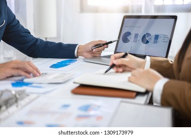Business colleague team working and analyzing with new project of accounting finance, Idea presentation and meeting strategy plan of financial business investment.