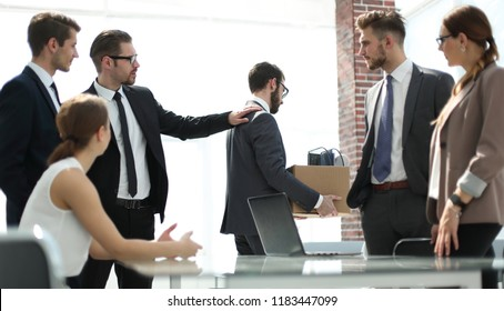 business colleagues escorted the dismissed employee