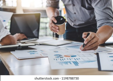 Business colleagues meeting to conference professional investor working a new marketing business strategy project discussion and analysis data chart and graph, finance and accounting concept.