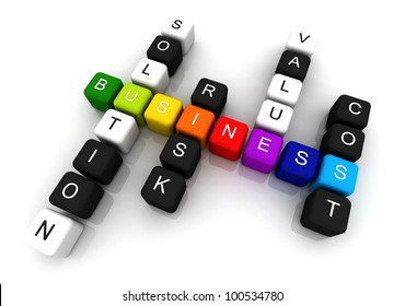 Business colorful box Crossword 3D render