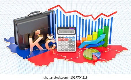 Business, commerce and finance in Czech Republic concept, 3D rendering