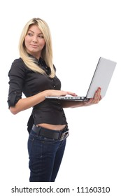 business communication concept with businesswoman and her laptop