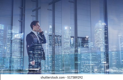 business communication concept, career opportunity, businessman calling by phone, double exposure