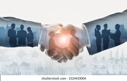 Business communication concept. Marketing. Shaking hands. Teamwork.