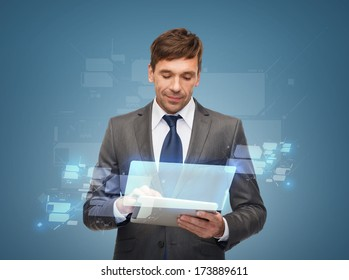 business, communication, future technology and office concept - buisnessman with tablet pc