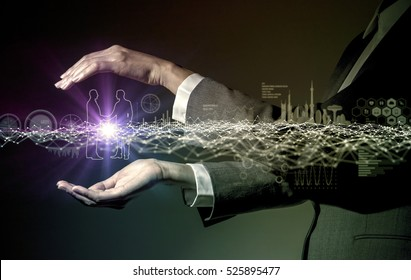 business and communication network concept, IoT(Internet of Things), ICT(Information Communication Technology), digital transformation, abstract image visual