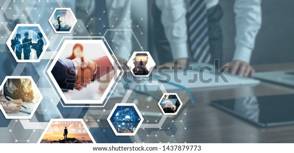 Business and communication network concept. Business partnership concept.