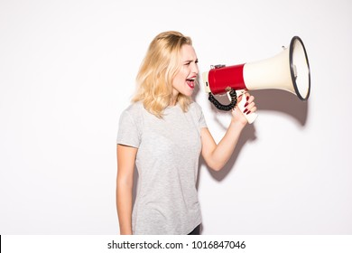 business, communication and office concept - screaming woman with megaphone