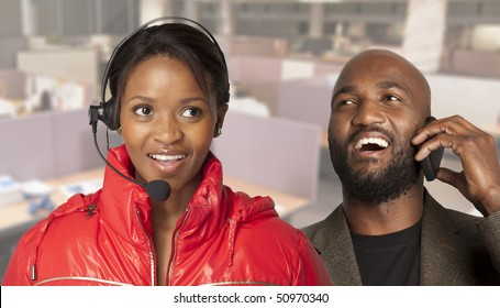 Business communications with call centre woman and man on cell phone.