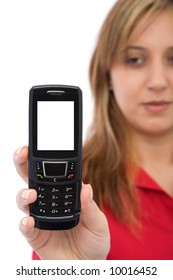 business communications concept with a modern cell phone and businesswoman