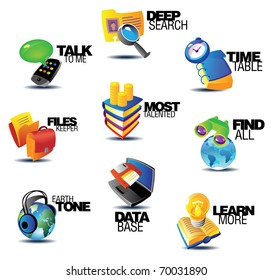 Business communications icons. Heading concepts for article or website. Raster version. Vector version is also available.