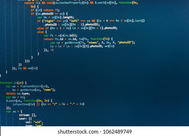 IT business company. Computer script typing work.  IT coding on monitor screen. Abstract computer script code. Screen of web developing javascript code. Source code close-up.