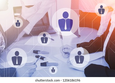 Business company structure concept. Corporate group communication. Network management of organization.