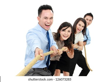 Business competition teams struggling to win. pulling rope on white background