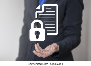 Business computer web security data concept. File document lock icon. Safety protection access internet private confidential secure information technology