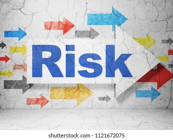 Business concept:  arrow with Risk on grunge textured concrete wall background, 3D rendering