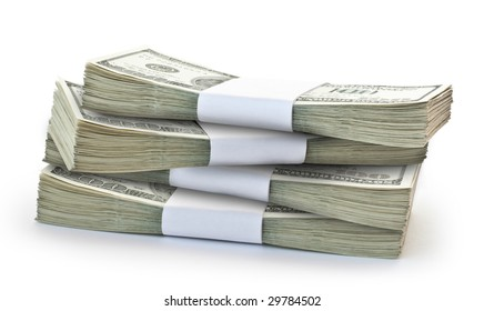business concept. big pile of money isolated on white