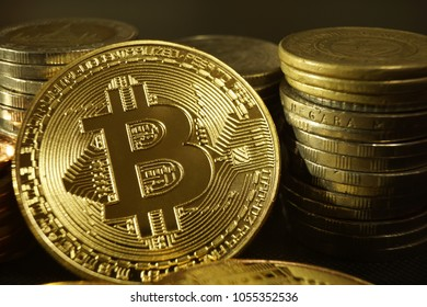 Business concept, bitcoin with different coin stack background